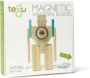 Tegu Magbot Magnetic Wooden Block Set, Electric Aqua