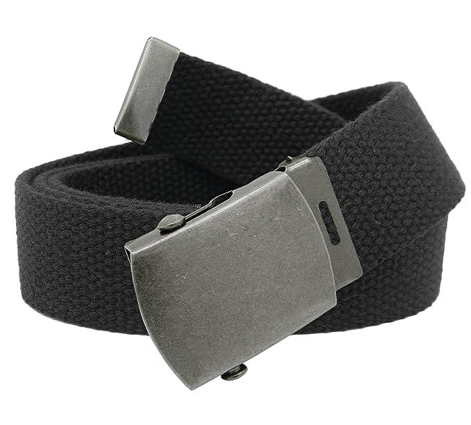e500ccfa516af Men's Antique Silver Slider Military Belt Buckle with Canvas Web Belt Small  Black