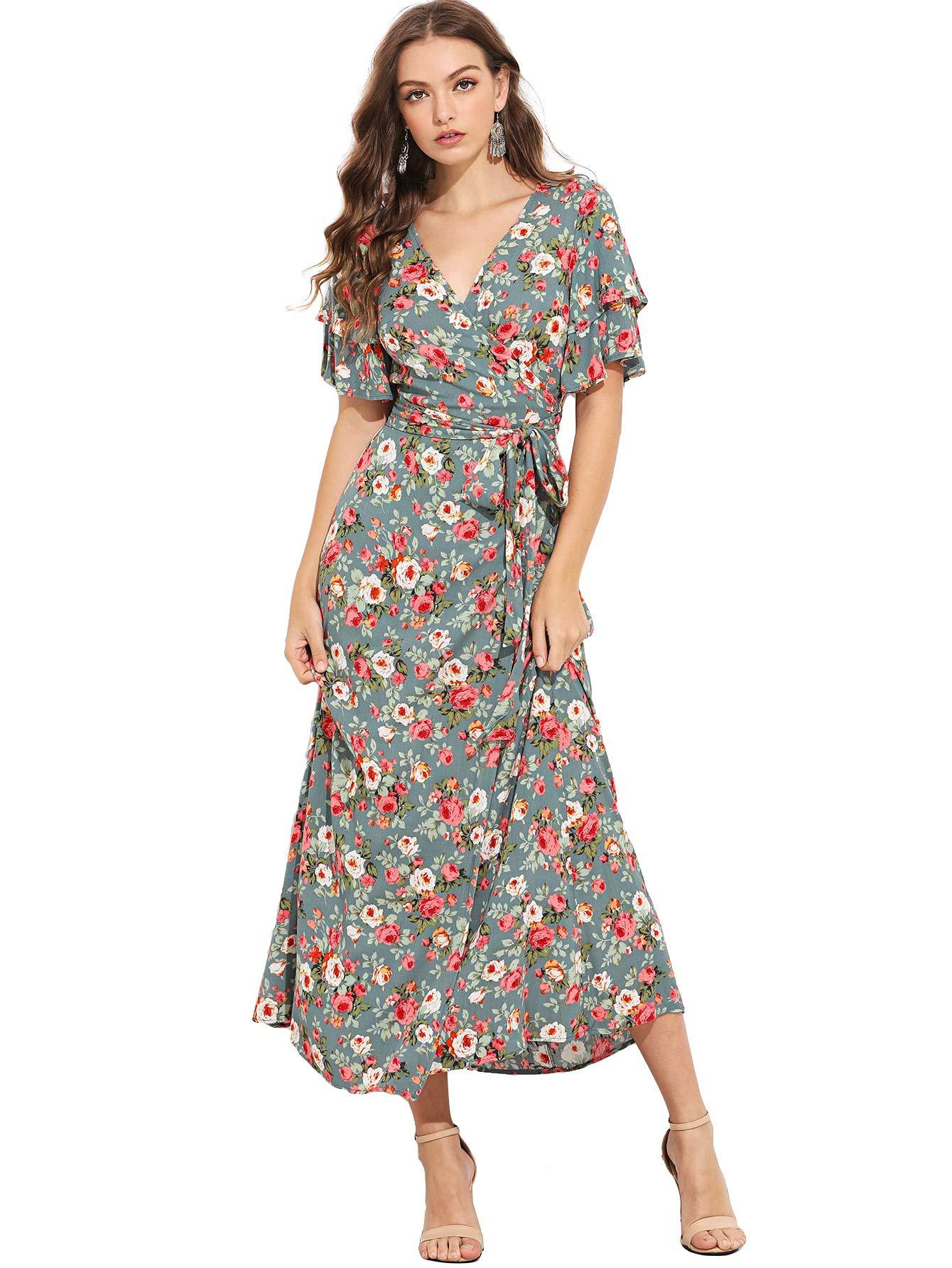 b33bbf0be914 Galleon - Milumia Women s Boho Split Tie-Waist Vintage Print Maxi Dress  Medium Multicolor-2