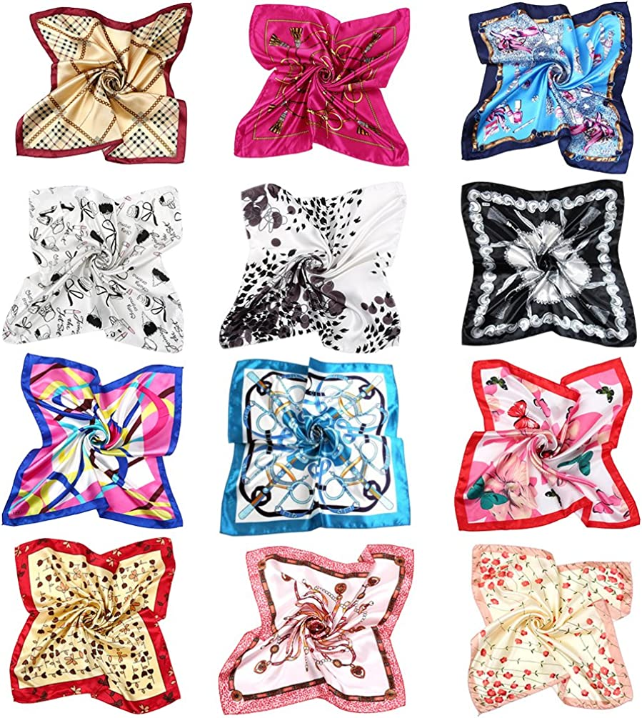 VBIGER Pañuelo de Seda Cuadrado para Mujer,12 pcs