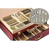 "75-Piece Gold Flatware Set Dining Service for 12, 18/10 Premium Stainless Steel, 24K Gold-Plated Trim, Silverware Serving Set, Wood Storage Case (""Medallion"")"