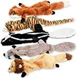 Dog Squeaky Toys, No Stuffing Plush Pet Chew Toy for Small Medium Large Puppy, 5 Pack Two Squeaky Cute Animals (Raccoon…