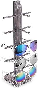MyGift Rustic Whitewashed Barnwood 5-Pair Sunglasses Display Stand, Tabletop Retail Eyewear Storage Rack