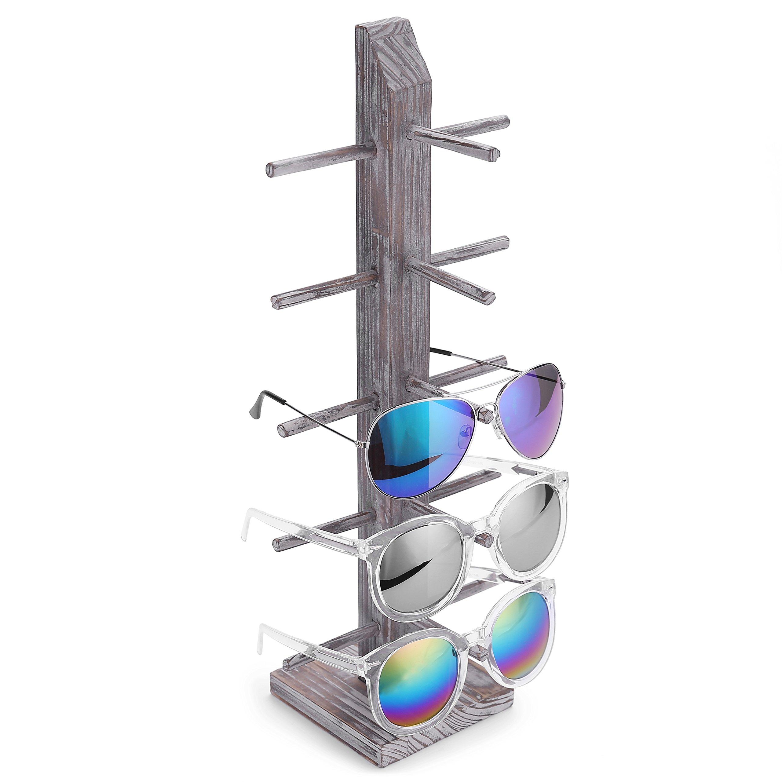 Rustic Whitewashed Barnwood 5-Pair Sunglasses Display Stand, Tabletop Retail Eyewear Storage Rack by MyGift
