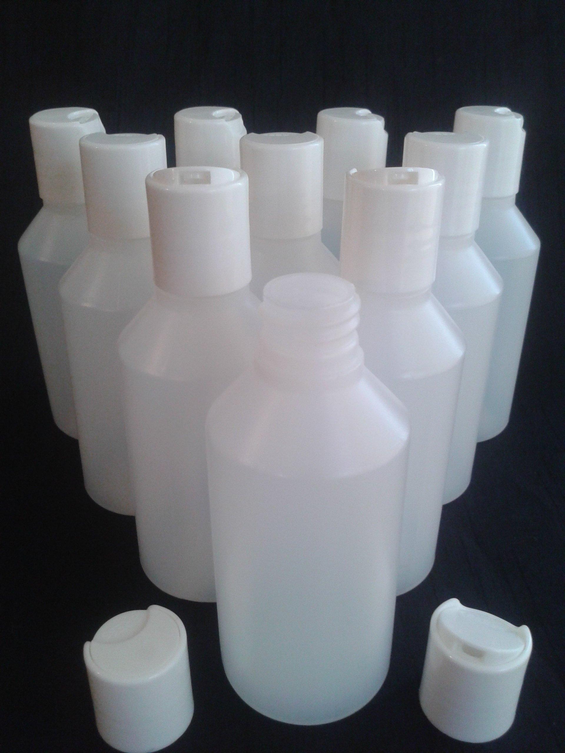 10 x 250 ml empty plastic bottles + disc top lid Ideal craft / cosmetics / travel by Body Art Desire