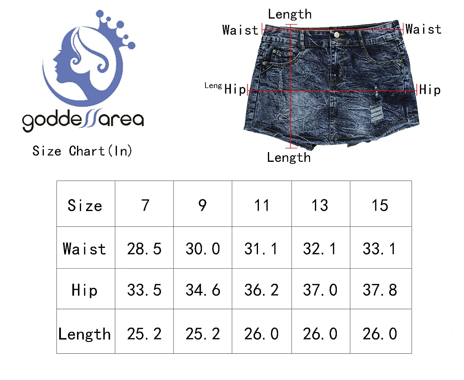 Goddess Area Womens Casual Mid Waisted Distressed Ripped Stretch Denim Girls Shorts Jeans//Skirt Blue