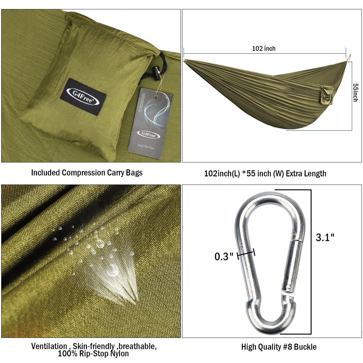 Navy Blue G4Free Portable Hammock Lightweight Nylon Fabric Parachute Hammock for Outdoor Camping Hiking,Travel Hammock Ropes /& Steel Carabiners Included Hammock Ropes /& Steel Carabiners Included G4Garden