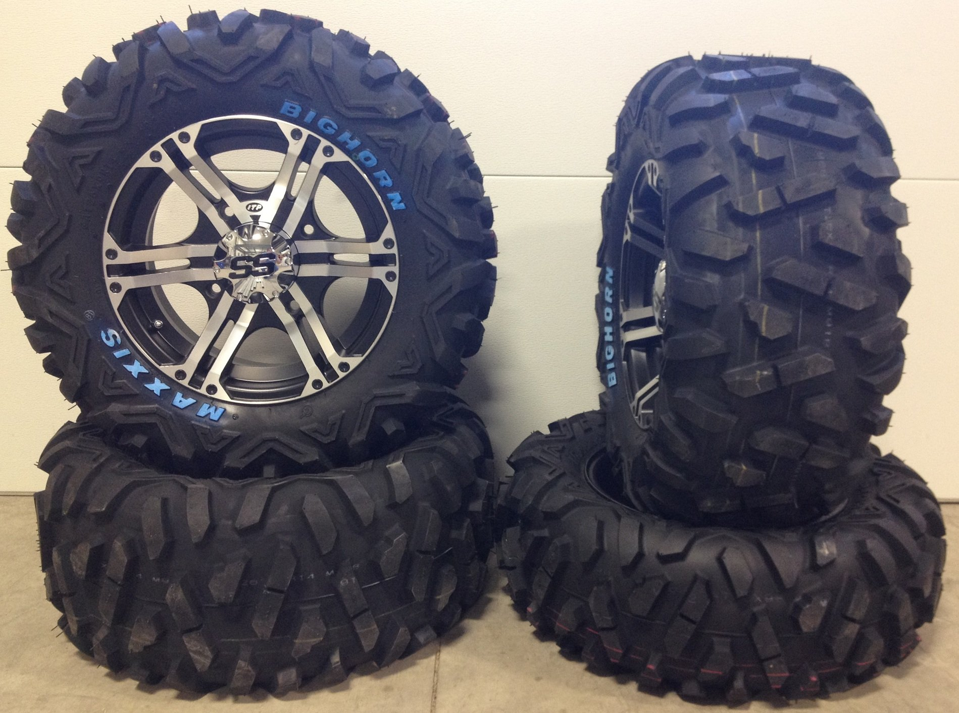 Bundle - 9 Items: ITP SS212 14'' Wheels Machined 26'' BigHorn Tires [4x156 Bolt Pattern 12mmx1.5 Lug Kit]