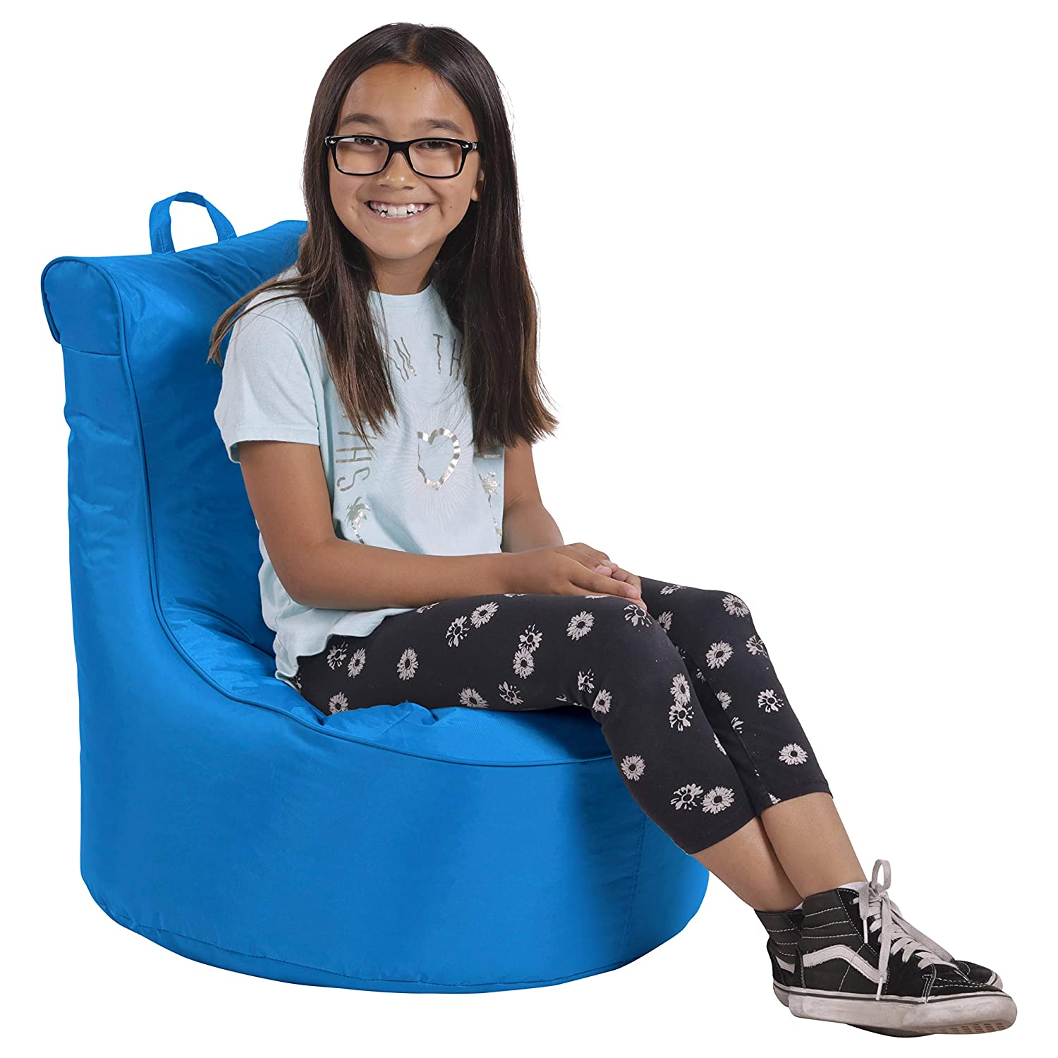 Cali Paddle Out Sack Bean Bag Chair, Dirt-Resistant Coated Oxford Fabric, Flexible Seating for Kids, Teens, Adults, Furniture for Bedrooms, Dorm Rooms, Classrooms - French Blue