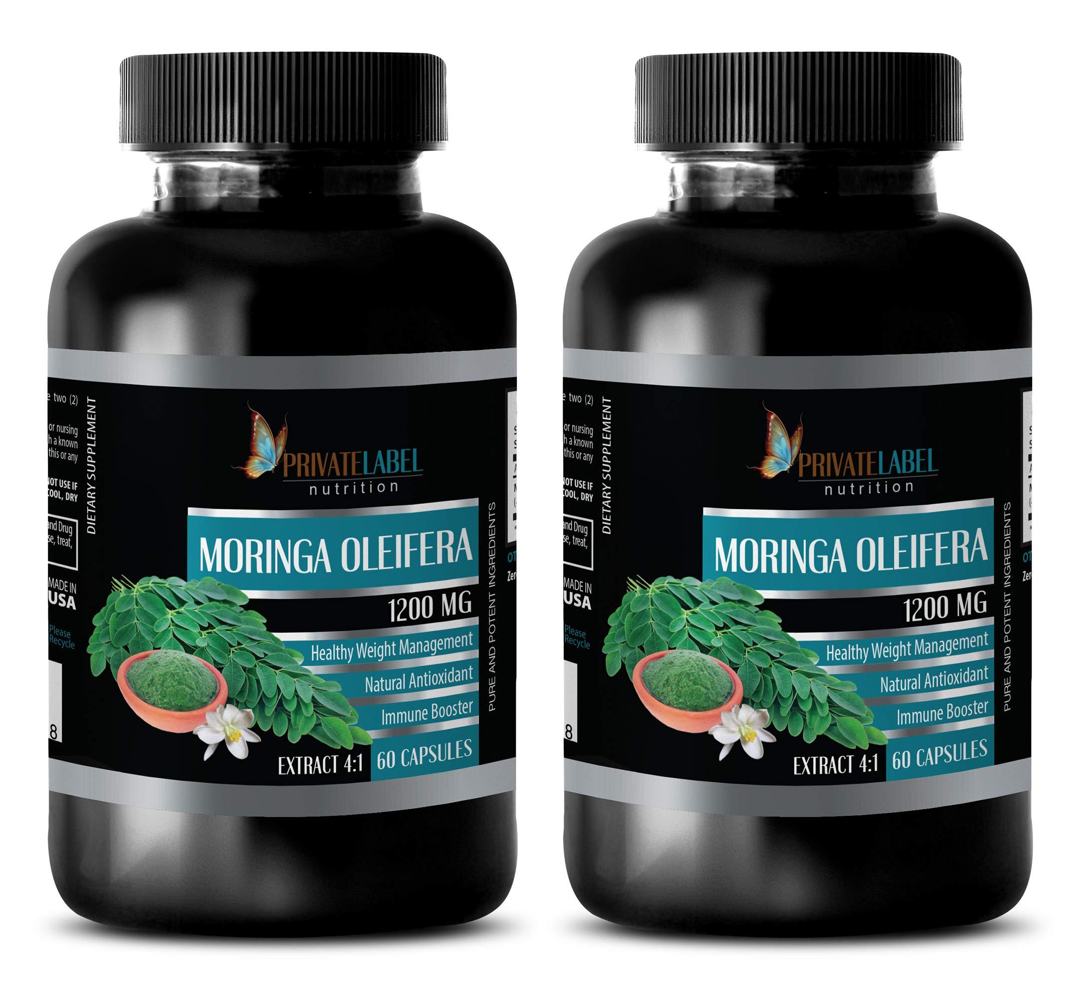 Natural Weight Loss Supplements for Men - Moringa OLEIFERA Extract 4:1 1200MG - Moringa Mood Enhancer - 2 Bottles (120 Capsules)