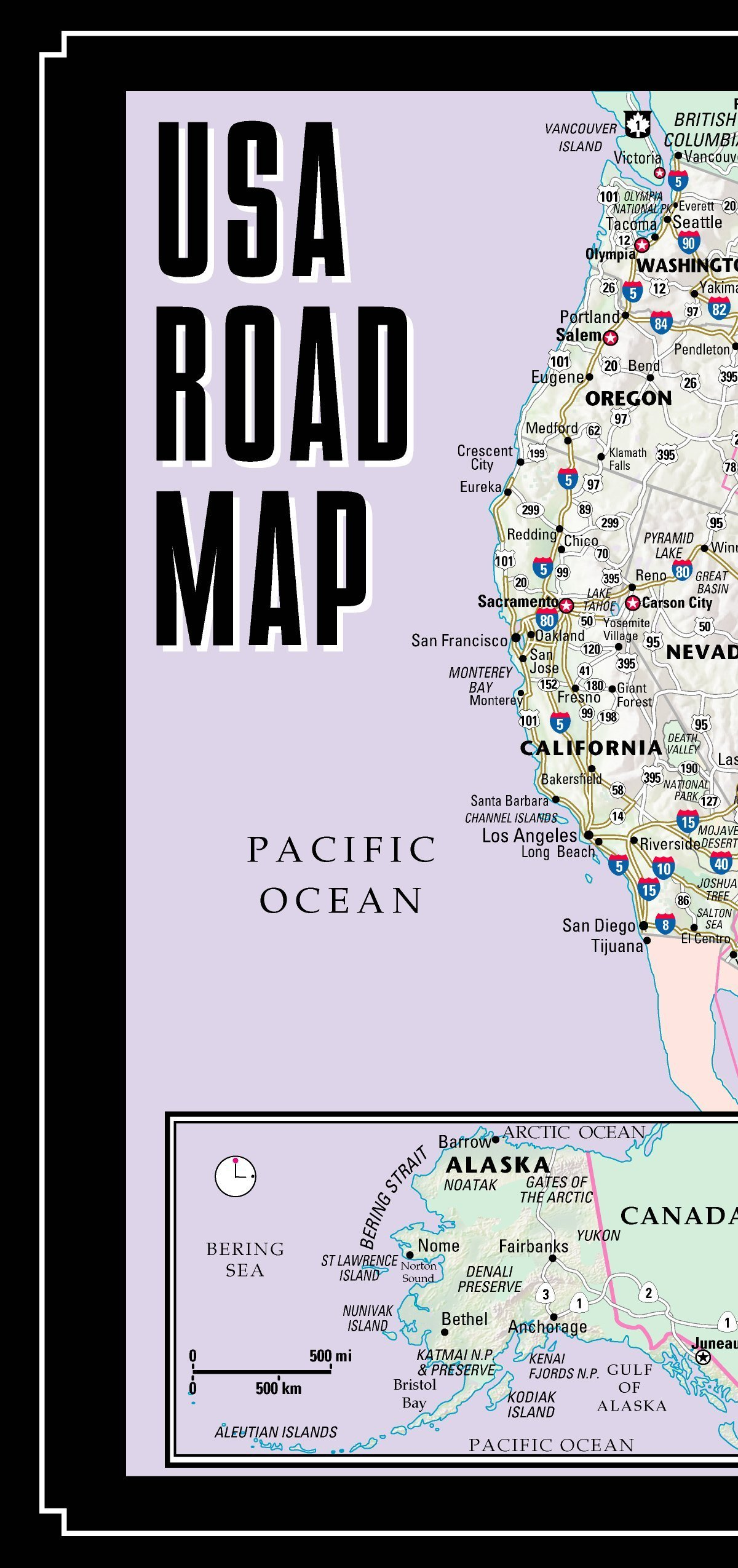 Streetwise USA Road Map Laminated Major Highway Map Of The - Map usa highway 80
