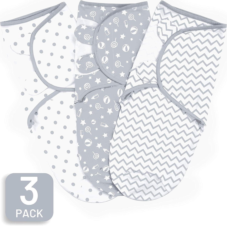 Baby Swaddle Blanket, Swaddle Wrap for Infant (0-3 Month), Adjustable Newborn Swaddle Set, 3 Pack Soft Organic Cotton (Grey/White)