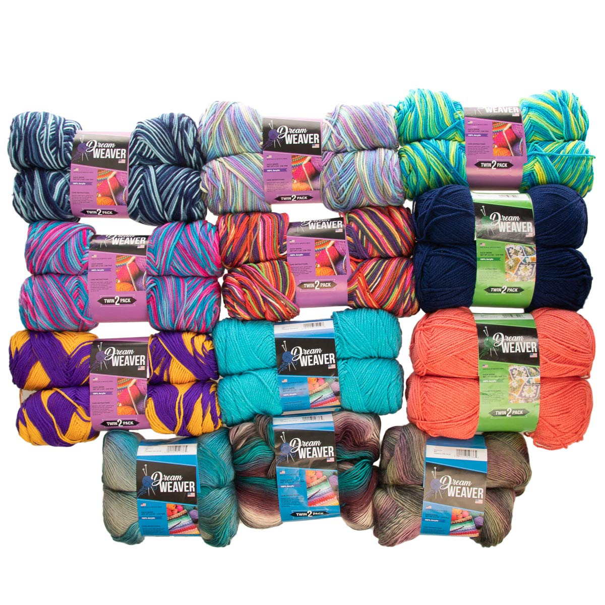 Dream Weaver 24 Count Variety Pack Assorted Color 100% Acrylic Soft Yarn for Knitting Crocheting