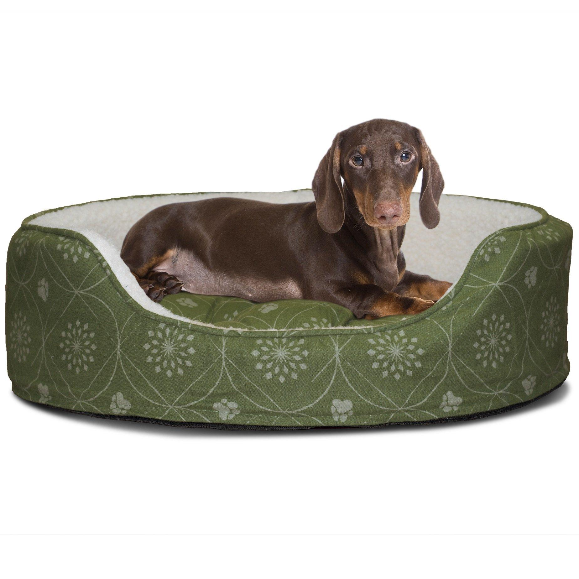 Furhaven Pet Nap Oval Lounger Bed for Dog or Cat Jade Green MEDIUM