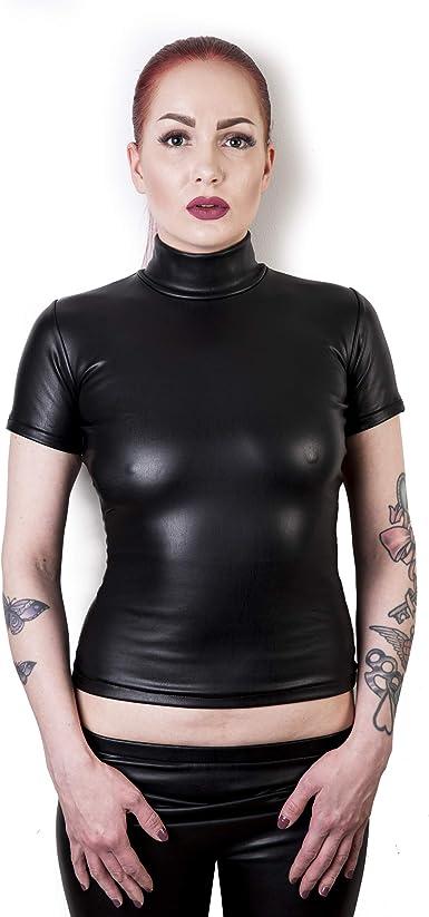Rubberfashion Camisa de aspecto mojado brillante, camiseta de manga corta para hombre y mujer, cantidad: 1 unidad.