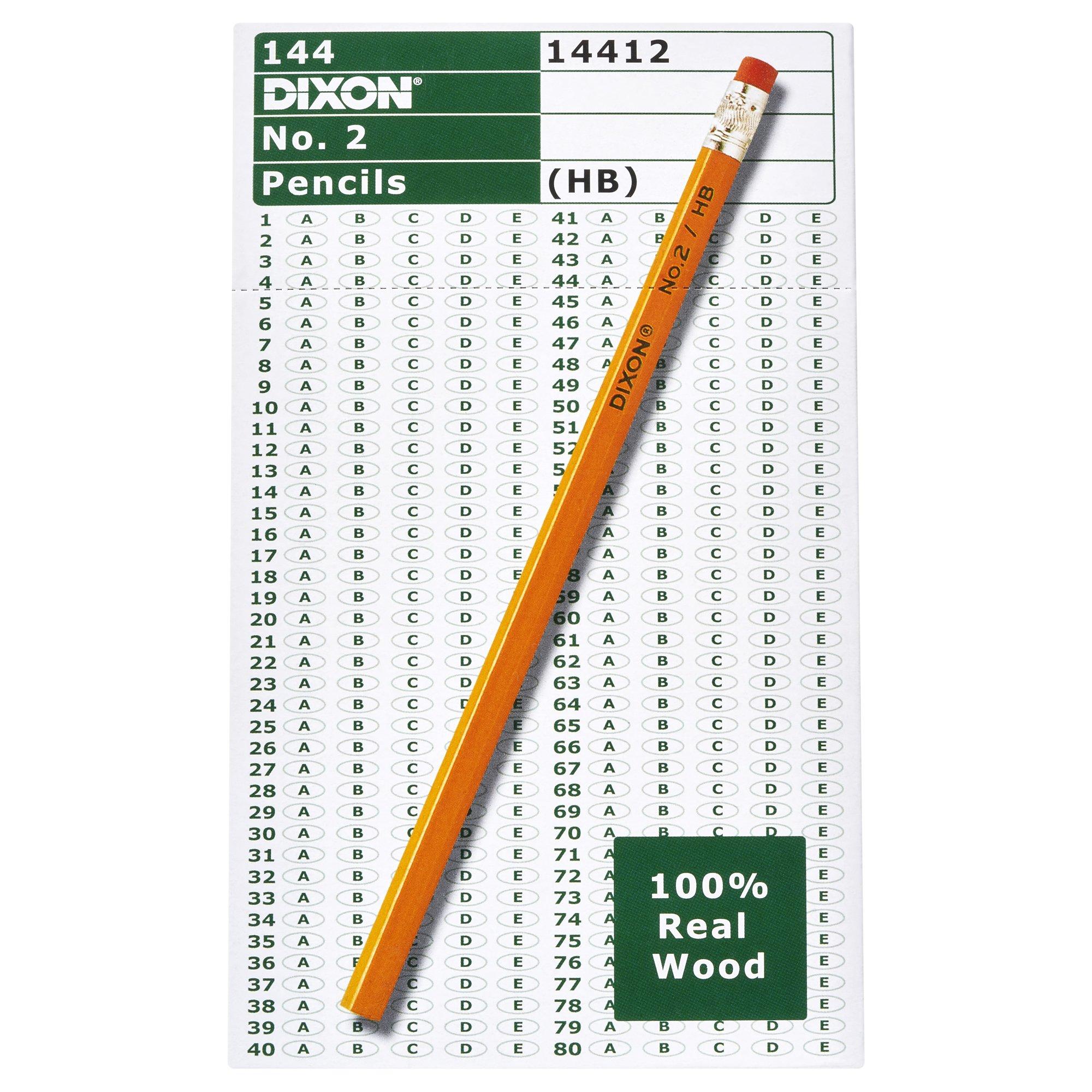 Dixon No. 2 Yellow Pencils, Wood-Cased, Black Core, #2 HB Soft, 144 Count, Boxed (14412) by Dixon