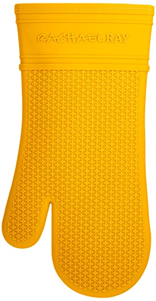 Rachael Ray Silicone Kitchen Oven Mitt With Quilted Cotton Liner, Yellow