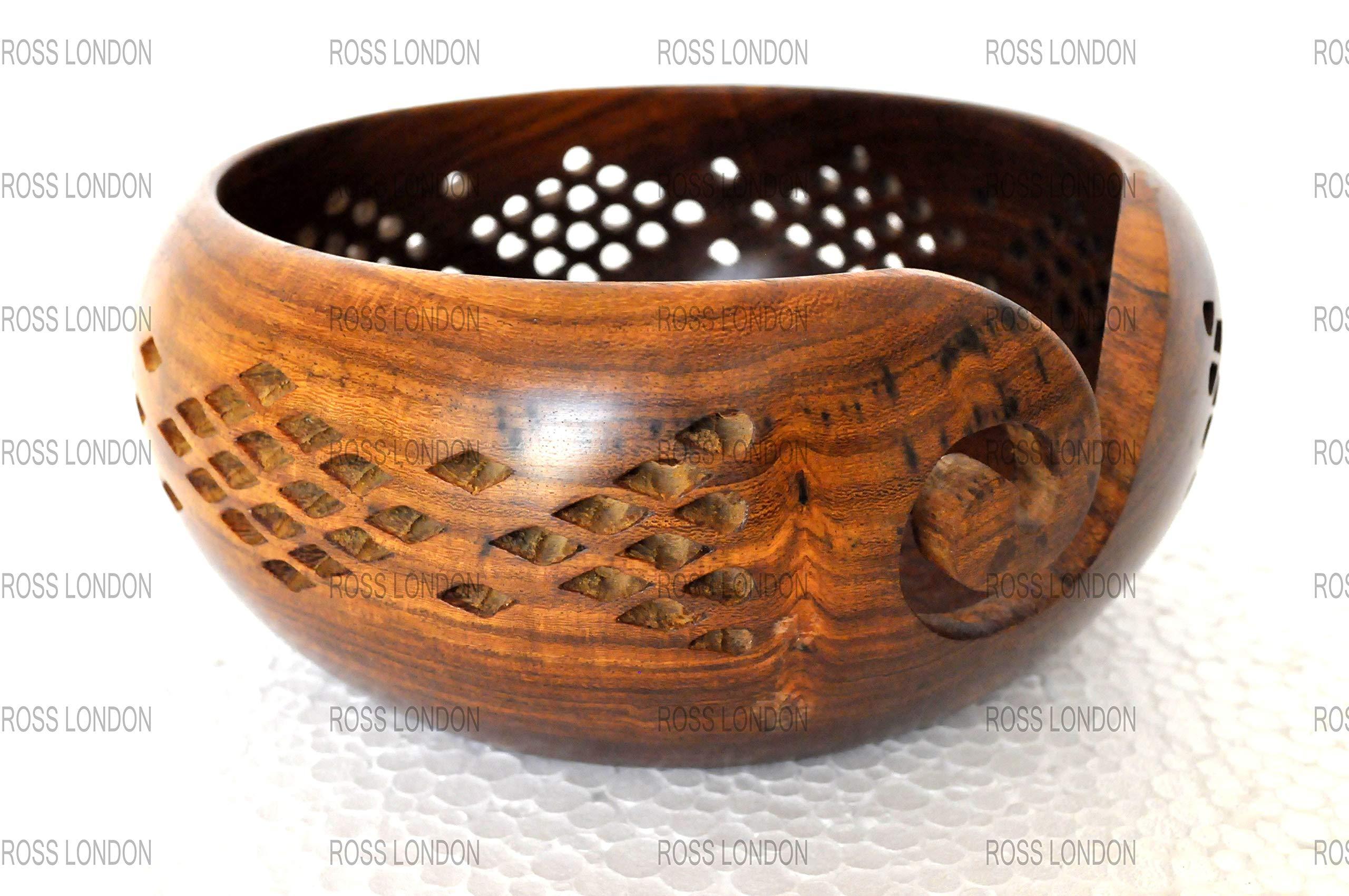 6'' x 3'' Handmade Knitting Yarn Organizer Bowl Wooden Circular Crocheting Storage Tool