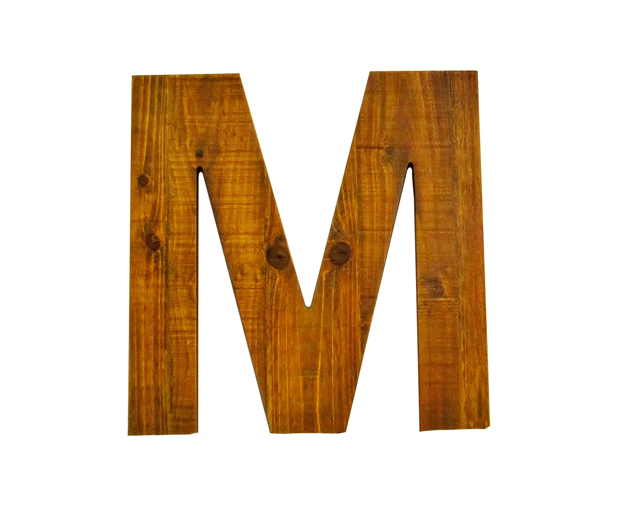 Your Home and Beyond- A finished letter M in a natural wood color. Great for hanging on the wall or leaning on a book shelf. There is grain on the wood and the size of the piece is perfect.