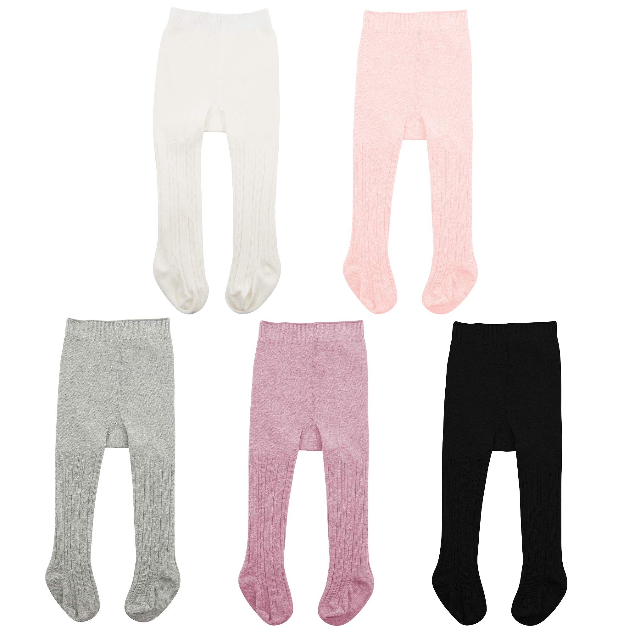 Zando Baby Girls Tights Infant Soft Seamless Cable Knit Tights Cotton Leggings Stockings Baby Girls Winter Clothes Toddler Warm Socks 5 Pack - Colorful Mixed B X-Large/2-4 Year by Zando