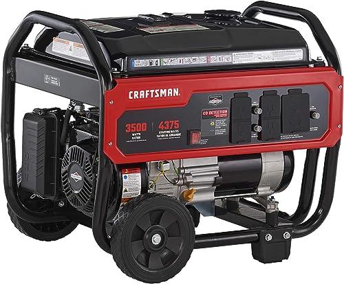 Craftsman 3500 Watt Portable Generator with CO Detection Technology, 4375 Starting Watts 3500 Running Watts, Powered by Briggs Stratton