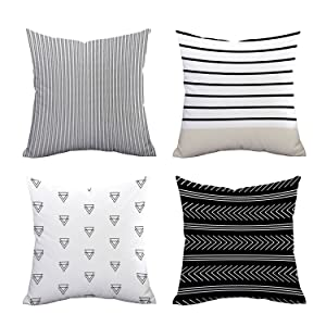 """Set of 4 Pillow Covers Stripe Pattern Throw Pillow Case Daily Decorations Sofa Throw Pillow Case Cushion Covers Zippered Pillowcase 18"""" x 18"""""""