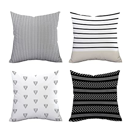 Set Of 4 Pillow Covers Stripe Pattern Throw Pillow Case Daily Decorations Sofa Throw Pillow Case Cushion Covers Zippered Pillowcase 18 X 18