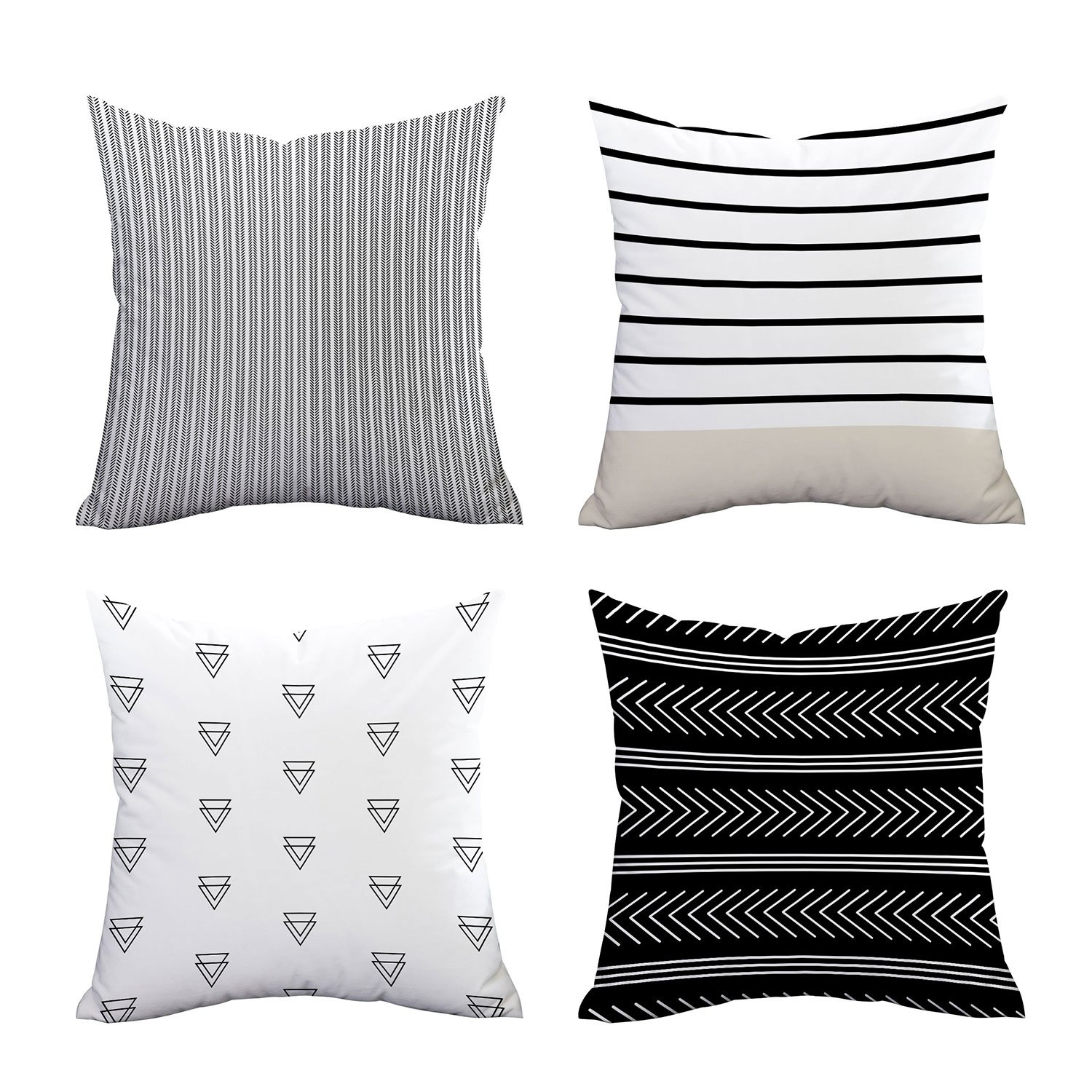 Set of 4 Pillow Covers Stripe Pattern Throw Pillow Case Daily Decorations Sofa Throw Pillow Case Cushion Covers Zippered Pillowcase 18'' x 18''
