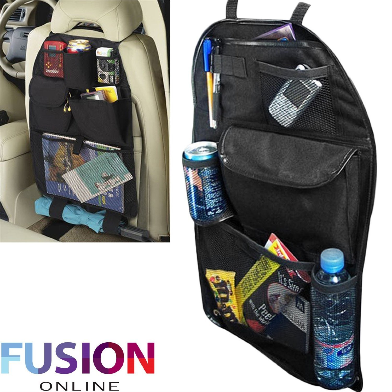 KIDS UNIVERSAL CAR BACK SEAT TIDY HANGING MULTI POCKET TRAVEL STORAGE ORGANIZER Fusion(TM) F002
