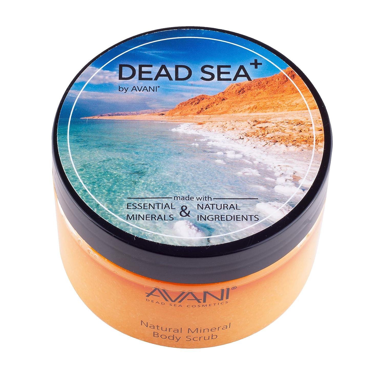 Avani Natural Mineral Body Scrub - Dead Sea Salt, Vitamin E, Jojoba, Sunflower, Sweet Almond - Exfoliating Formula for All Skin Types - Milk/Honey : Dead Sea Salt Scrub : Beauty