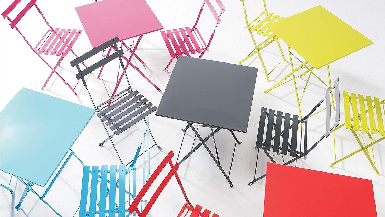 Table de jardin carr/Ã/©e Rouge Table bistro terrasse balcon