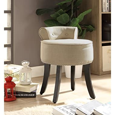 Inspired Home Taylor Beige Linen Vanity Stool - Nailhead Trim   Roll Back   Button Tufted   Bedroom