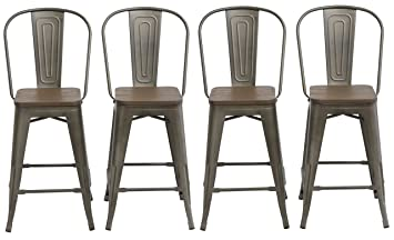 BTExpert Industrial Metal Vintage Antique Copper Bronze Rustic Distressed  Dining Counter Height Bar Stool Chair High