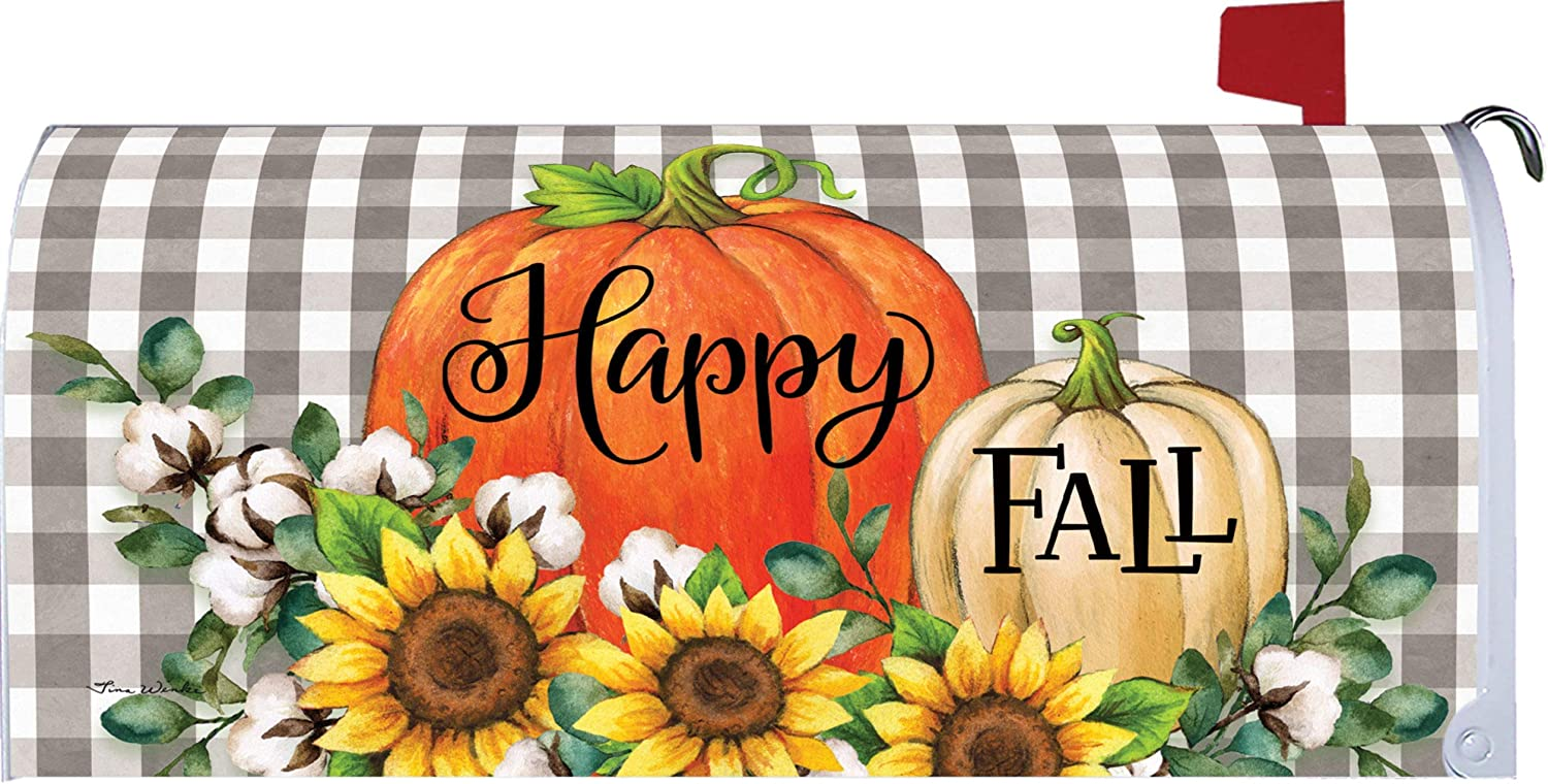 Custom Decor Pumpkins & Cotton - Happy Fall - Mailbox Makeover - Vinyl with Magnetic Strips for Steel Standard Rural Mailbox - Made in The USA - Copyright, Licensed and Trademarked Inc.