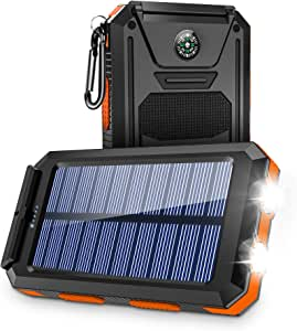 Solar Charger,Solar Power Bank 10000mAh Portable Panel Charger with Dual USB Output Ports, External Backup Battery Pack with 2LED Bright Flashlights and Compass for Camping Accessories(Orange)