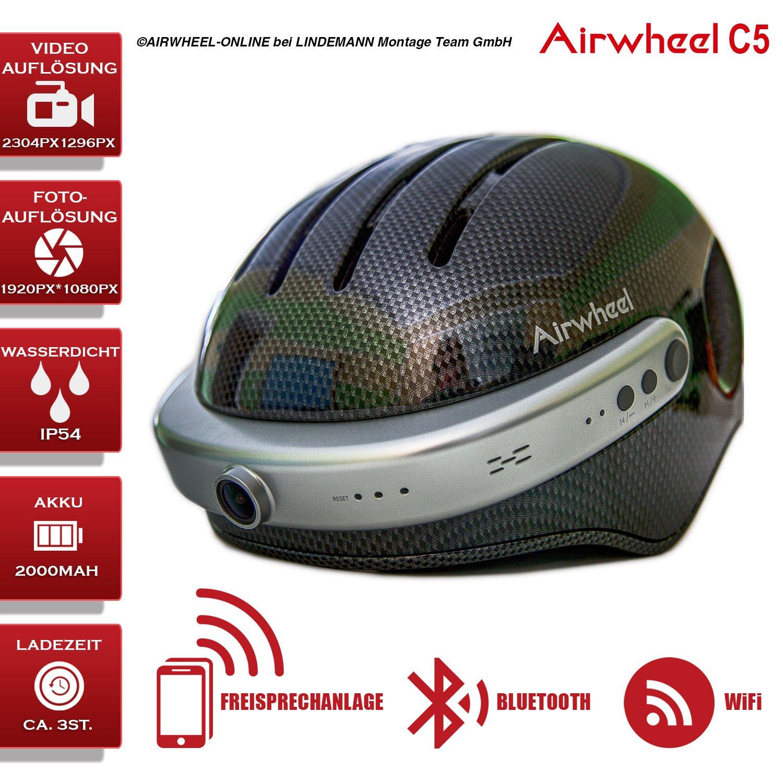 Airwheel C5 – Helm für Fahrrad mit HD Kamera, Lautsprecher und Blautooth (Carbonschwarz)