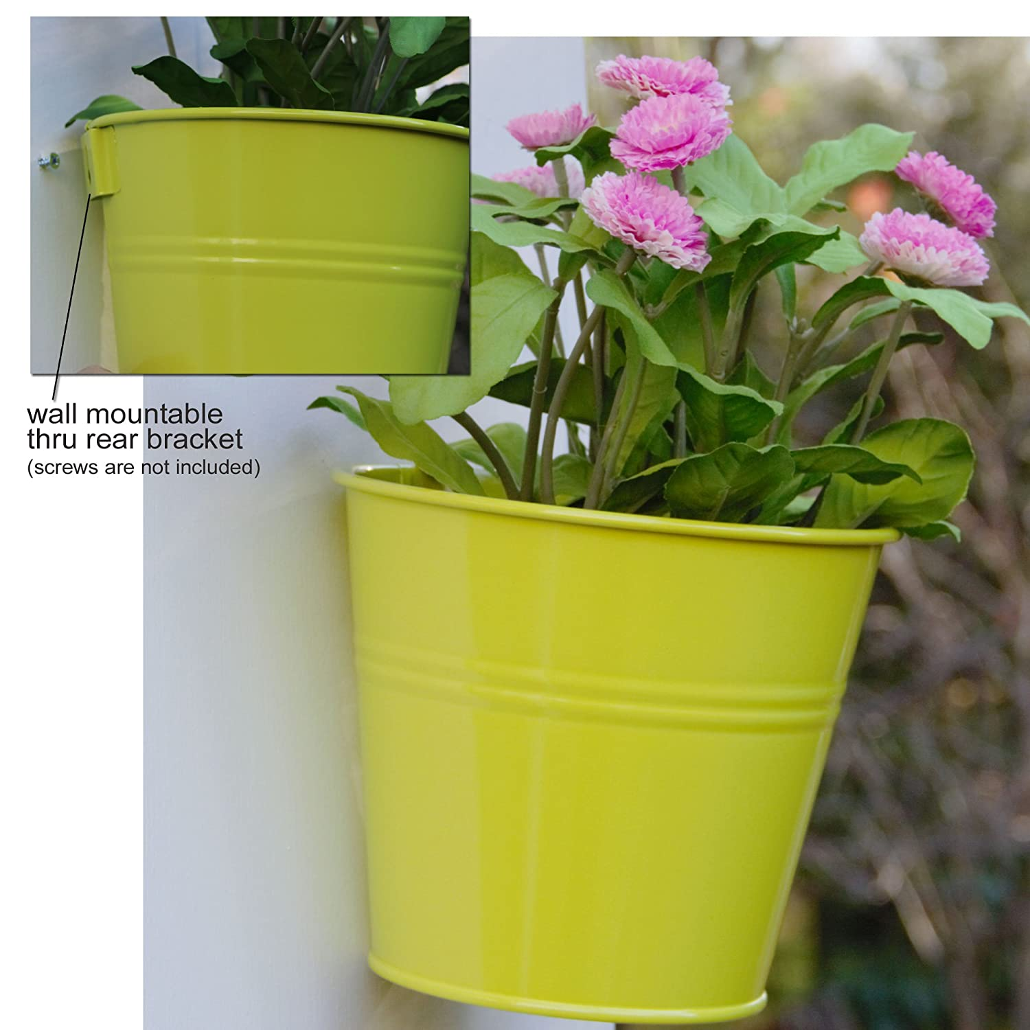 brightmaison Large Hanging Tin Metal Basket Bucket Planters Pot Assorted Colors Set of 5 Wall Mountable Multicolor Set For Plant and Flower