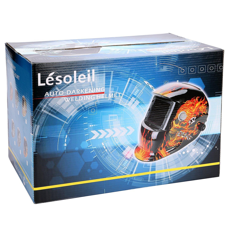 LESOLEIL Eléctrico Casco de Soldadura Automático Solar Energía Máscara de Fotosensible Máscara de Soldador: Amazon.es: Bricolaje y herramientas