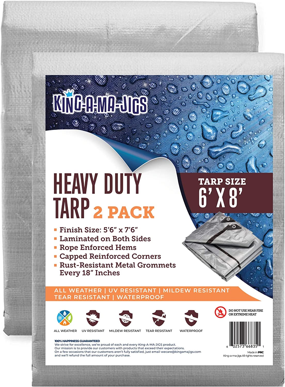 (2 Pack) 6x8 Heavy Duty Tarp, Waterproof Plastic Poly 10 Mil Thick Tarpaulin with Metal Grommets Every 18 Inches - for Roof, Camping, Outdoor, Patio. Rain or Sun (Reversible and Silver)