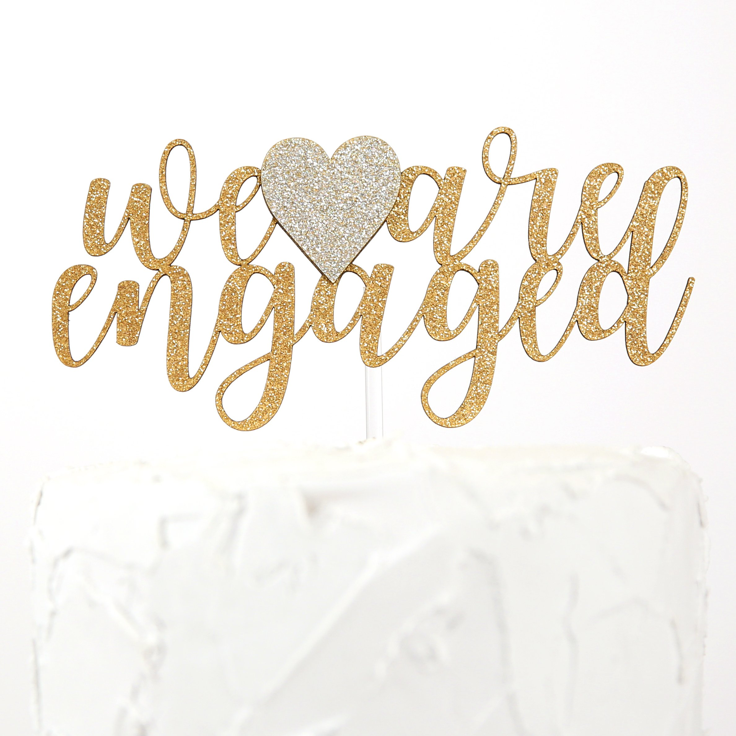 NANASUKO Engagement Party Cake Topper - we are engaged - Premium quality Made in USA - gold glitter with light gold heart