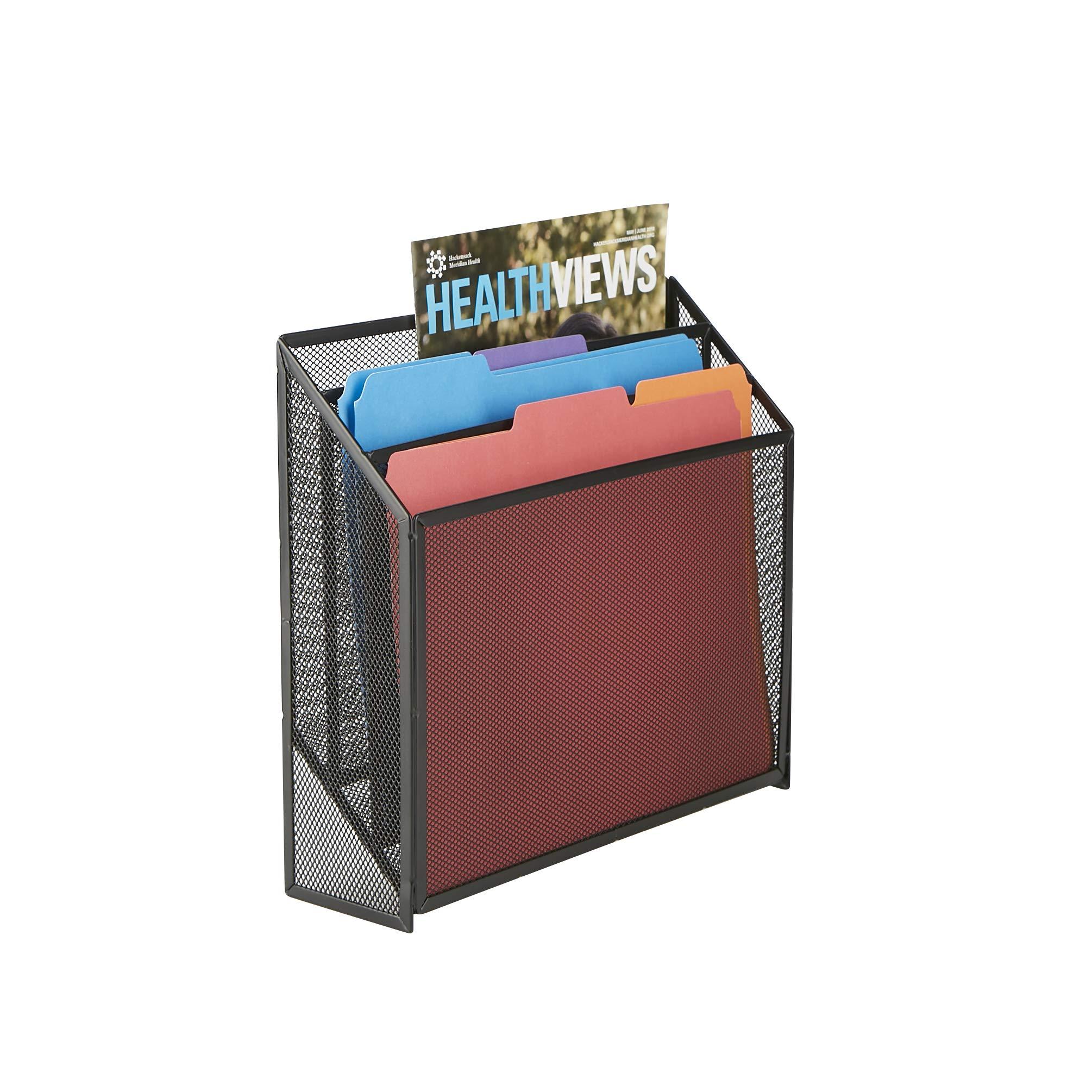 Mind Reader LETDIV-BLK 3 Tier, Jumbo, Mesh Holder,Office Desk Accessories File Box, Sturdy Magazine Organizer, Black
