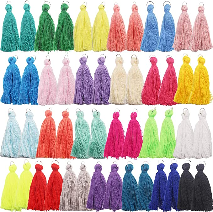 164 Pieces Tassels Mixed 3 Style Soft Silky Elegant Tassels Colorful Handmade Tassels Fit for Jewelry Making DIY Crafts Accessories