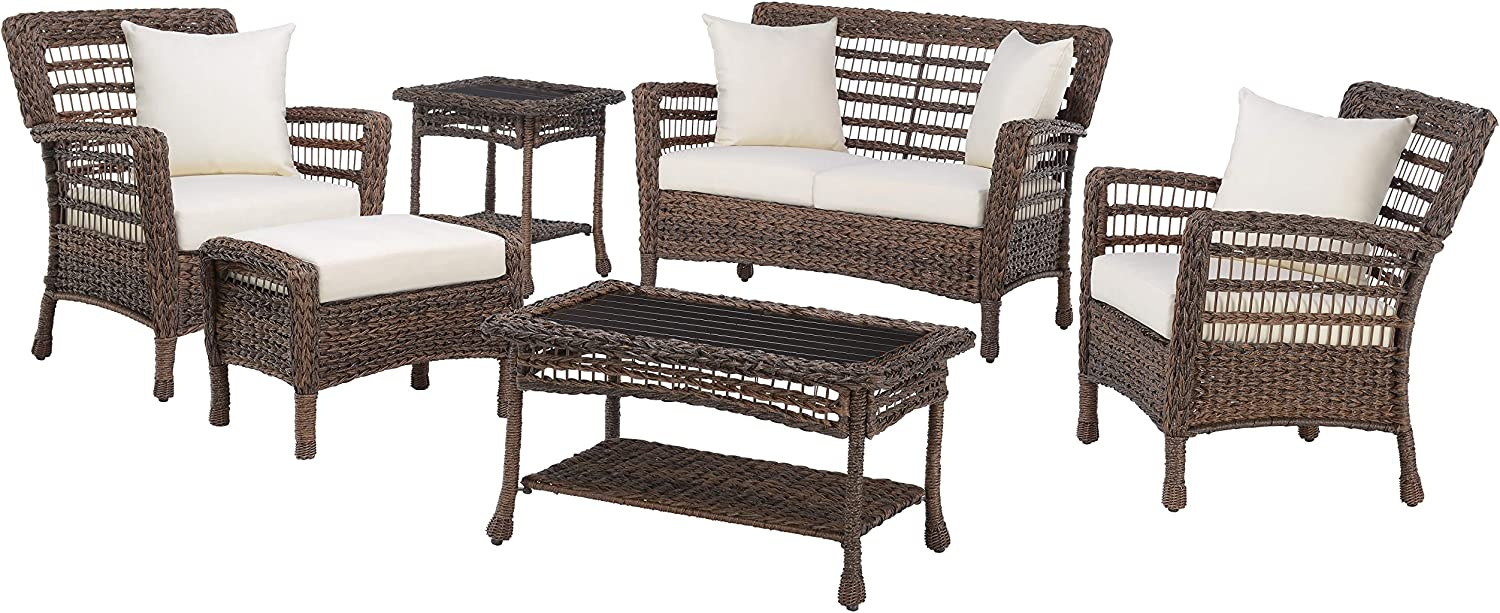 Outdoor Garden Patio Hand Woven Wicker Faux Sea Wrack Brown 2 Chairs,1 Loveseat,1 Coffee Table,1 Ottoman,1 End Table