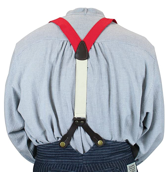 Men's Vintage Style Suspenders Historical Emporium Mens Canvas Stagecoach Y-Back Button End Suspenders $27.95 AT vintagedancer.com