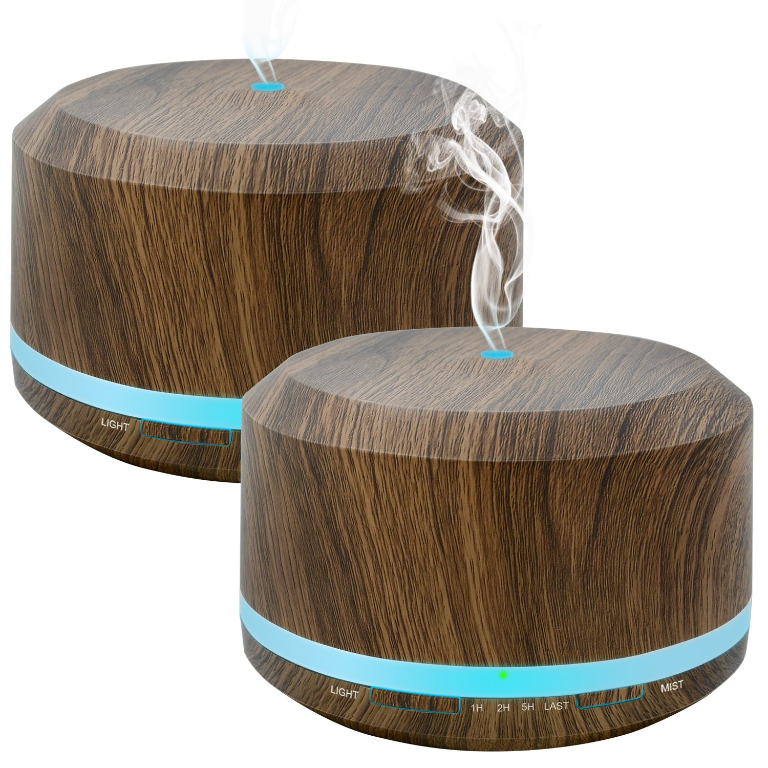 450ml Diffusers for Essential Oils 2 Pack, Wood Grain Aromatherapy Cool Mist Air Humidifier Diffuser with 8 Color Changing Lights for Home Bedroom Office by Doukedge