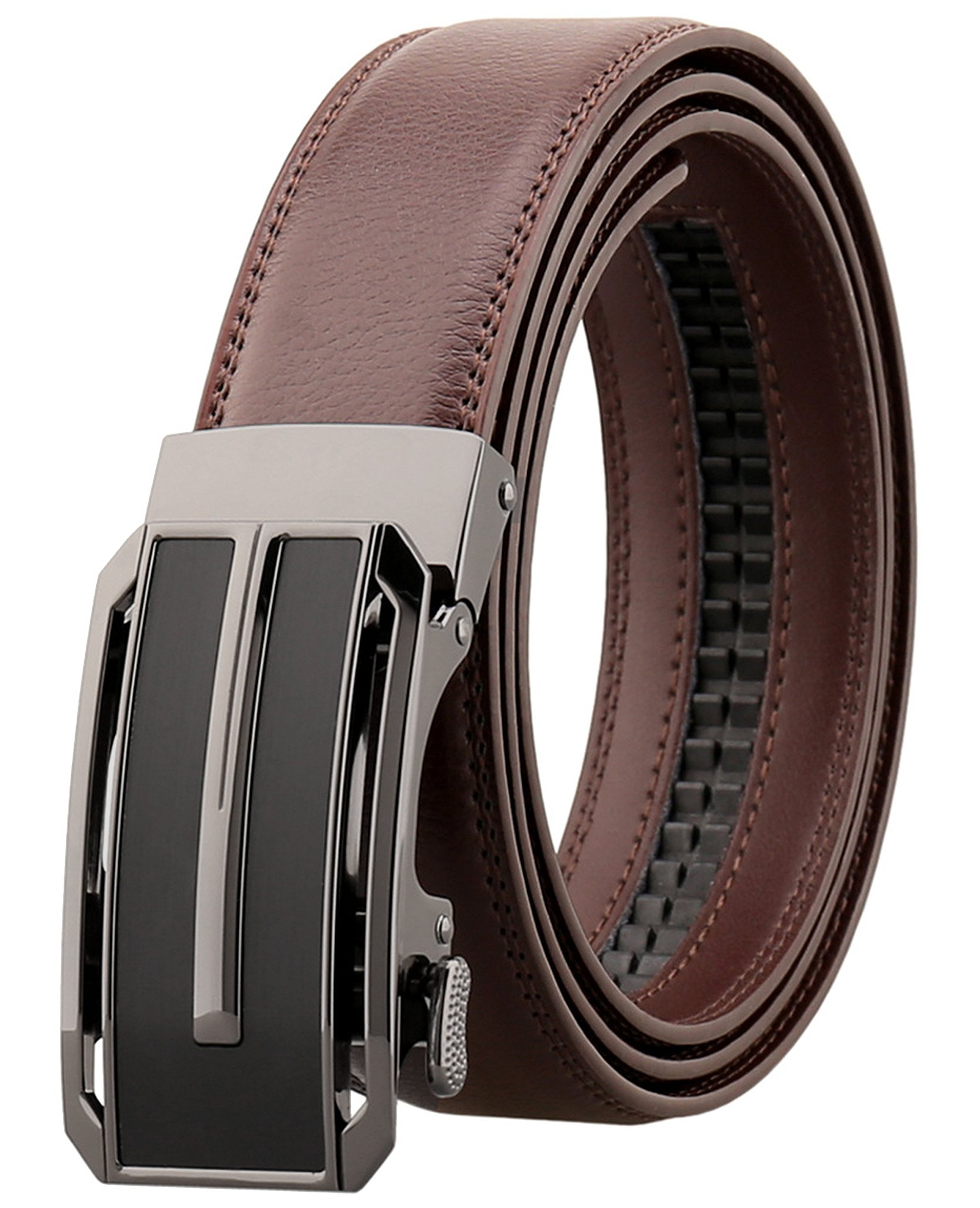 Ayli Men's Dress Belt, Genuine Leather Ratchet Belt with Automatic Buckle, 87a Coffee, bt2a087cf