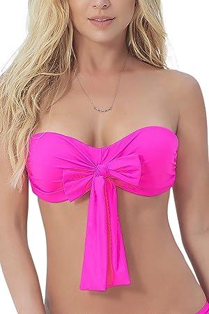 e9066c754f46 mapalé alto de Bikini multiposición rosa Top traje de baño bandeau ...