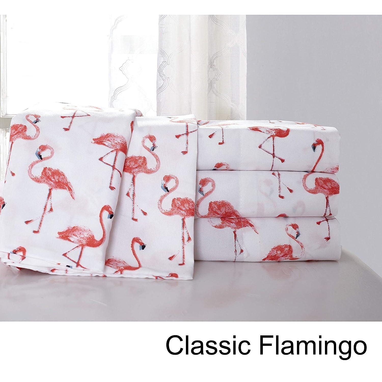 Full//Queen Hedaya Home Fashions Classic Flamingo Tropical Sheet and Pillowcase Set