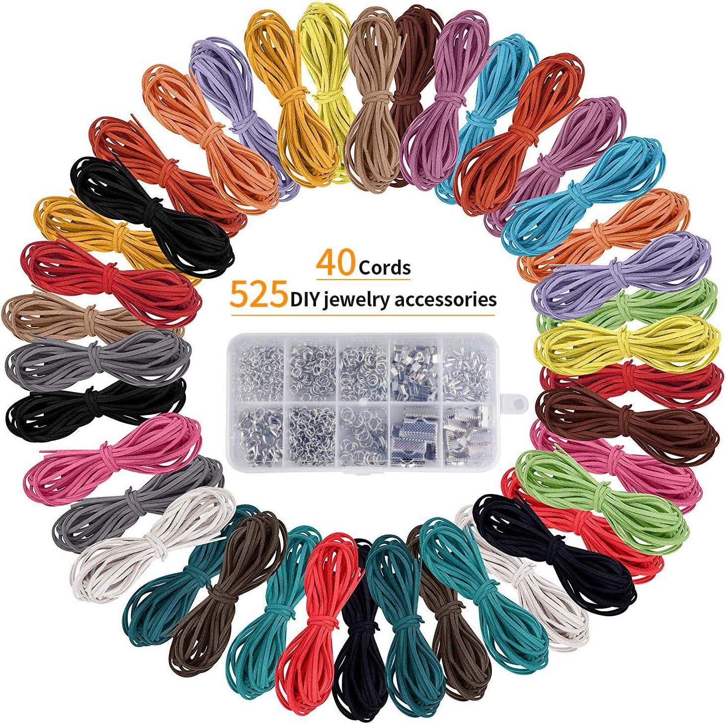 40 piezas 1 mx 3 mm Hilo de cordón de cuero DIY Hilo de gamuza sintética con 525 piezas de joyería, para pulsera, collar, llavero, joyería, manualidades