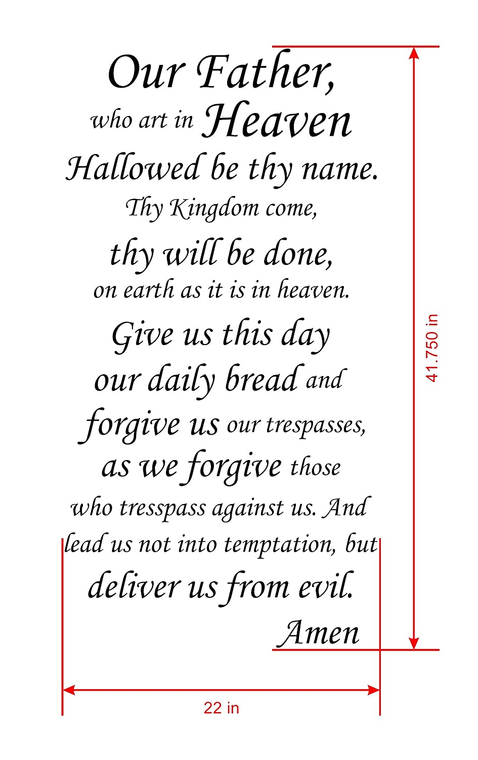 graphic relating to Printable Our Father Prayer named : Our Dad Who Artwork in just Heaven Estimate Wall Decal